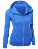 Xpril Women's Basic Long Sleeve Zip Up Hoodie in Colors