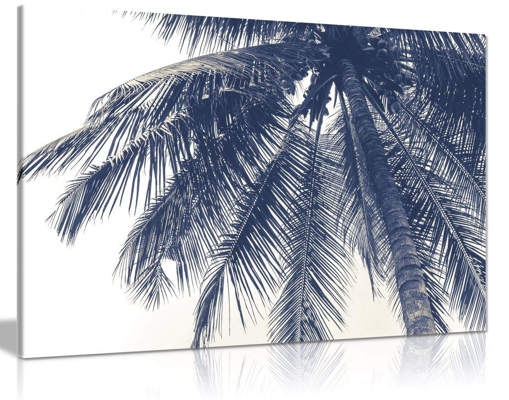 Black & White Coconut Tree Canvas Wall Art Picture Print for Home Decor (24x16)