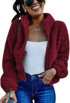 Angashion Women's Jacket - Full Zipper Fuzzy Faux Fleece Short Coat Warm Winter Sherpa Outerwear Cropped Jackets