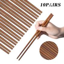 Wooden Chopsticks Reusable Dishwasher Safe 10 Pairs Chinese Asian Korea Iron Wood Handmade Chopstick Natural Healthy for Cooking Eating Restaurants Gourmets Noodles Portable Long Brown