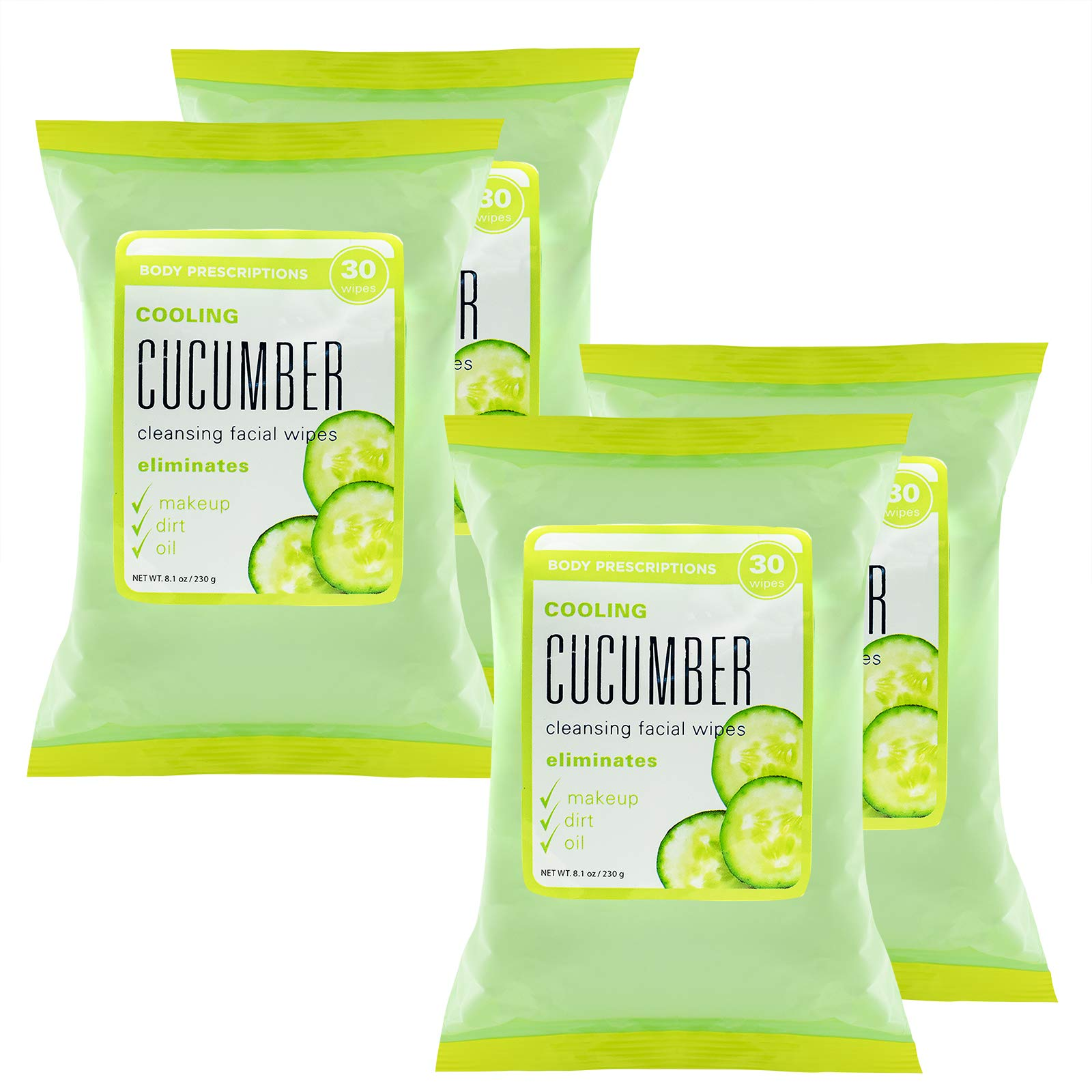 Body Prescriptions Face Wipes & Makeup Remover Wipes - 4 Pack (30 Count Each) of Gentle Facial Towelettes – (Cooling Cucumber)