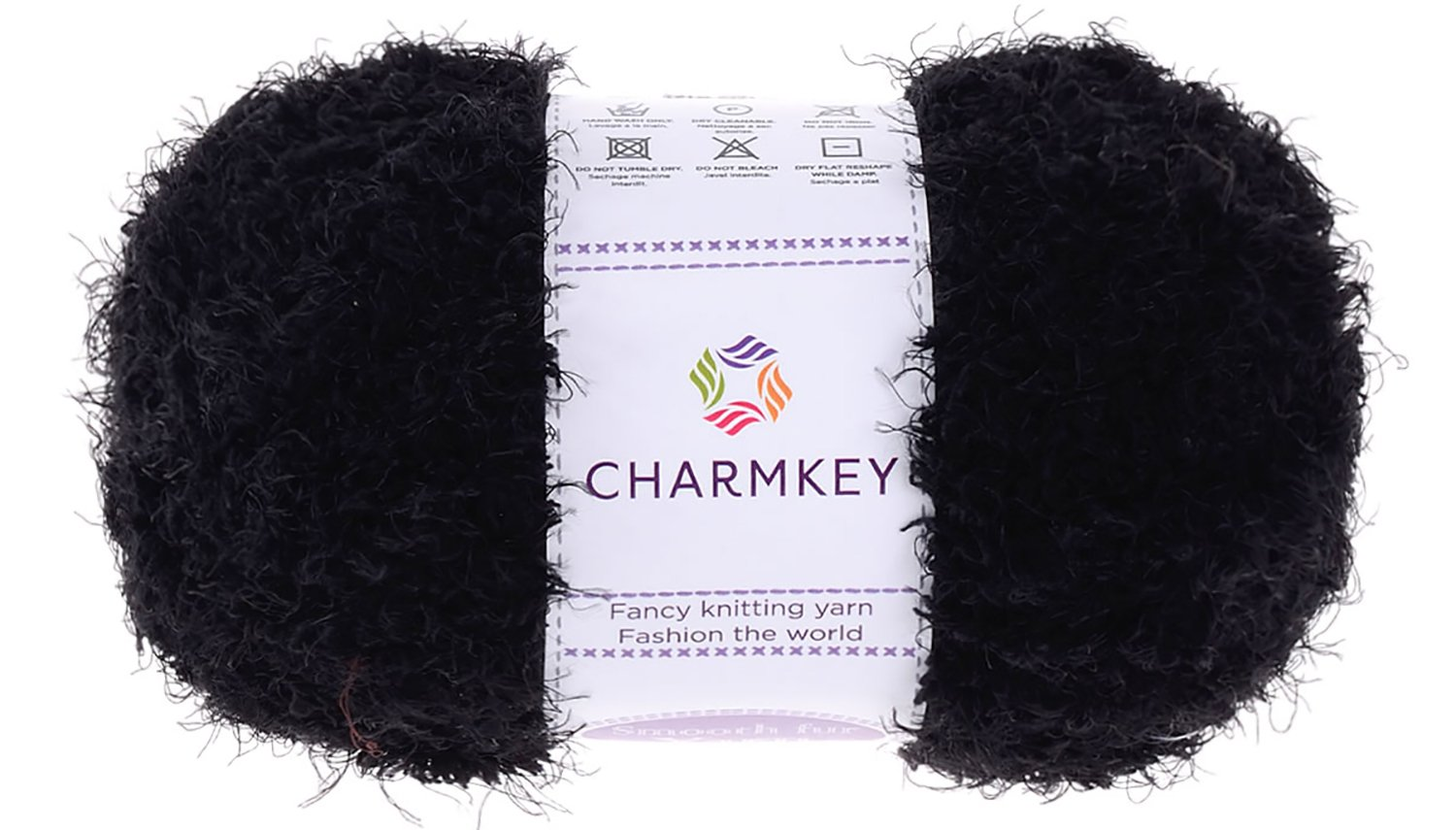 Charmkey Smooth Fur Yarn Super Soft Feeling 5 Bulky Fluffy Solid Colors Knitting Craft Polyester Fuzzy Nylon Yarn for Sweater Shawl Scarf Animal Toys and More, 1 Skein, 3.35 Ounce (Jet Black)