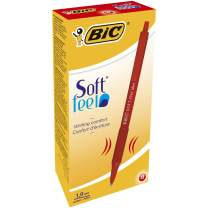 BIC Soft Feel Ball Pen, Red, Medium Point, 12-Count