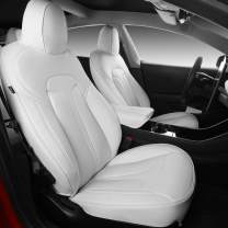 Xipoo Fit Tesla Model 3 Seat Cover Nappa Leather Car Seat Covers Seat Protector Fit for Tesla Model 3 (White)