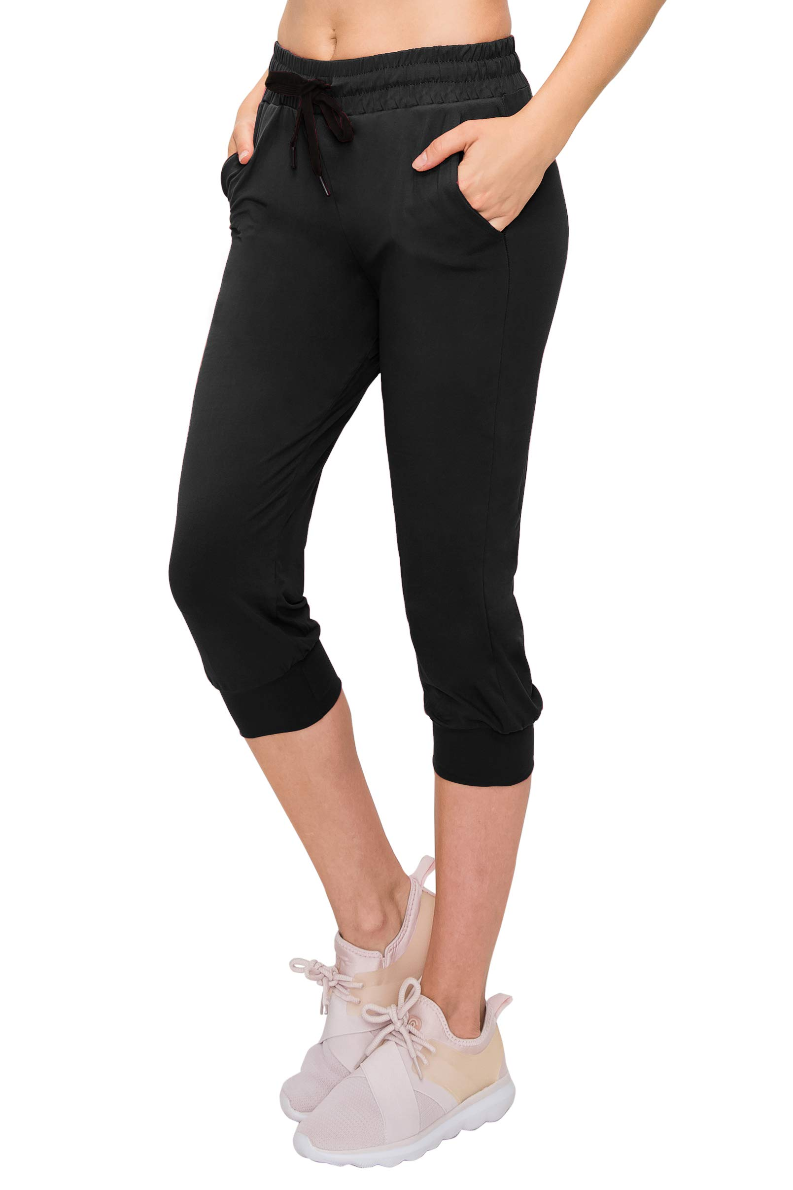 ALWAYS Women's Jogger Pants - Lightweight Skinny Solid Soft Stretch Pockets Sweatpants