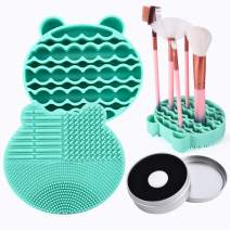 Silicon Makeup Brush Cleaning Mat with Brushes Drying Holder Portable Bear Shaped Cosmetic Brush Cleaner Pad+ Makeup Brush Dry Cleaned Quick Color Removal Sponge Scrubber Tool (Green)