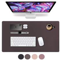 """Leather Desk Pad 31.5"""" x 15.7"""", Vine Creations Office Desk Mat Waterproof Dark Brown, Mouse Pad and Writing Surface, Top of Desks Protector, Dual-Sided Pu Leather Blotter Accessories Office Decor"""