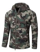 YFNT Men Softshell Fleece Jacekt Tactical Hood Hunting Coat (L, Jungle Camo)