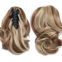 Claw Ponytail Extension Short Jaw Ponytails Pony Tail Hairpiece 145G Thick Clip in Hair Extensions Real Natural as Human Synthetic Fibre for Women 12 inch Curly light brown & ash blonde