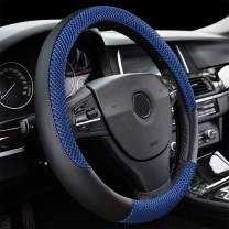 """LucaSng Black and Blue Microfiber Leather and Ice Silk Fabrics Car Steering Wheel Cover Fit 14.56""""-14.96"""""""