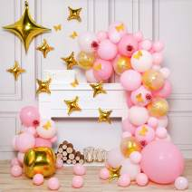 PartyWoo Pink and Gold Balloons, 100 pcs Pack of Pink Balloons, Gold Confetti Balloons, Gold Foil Balloon, Star Balloons, Paper Butterflies, Rose Artificial Flower for Pink and Gold Party Decorations