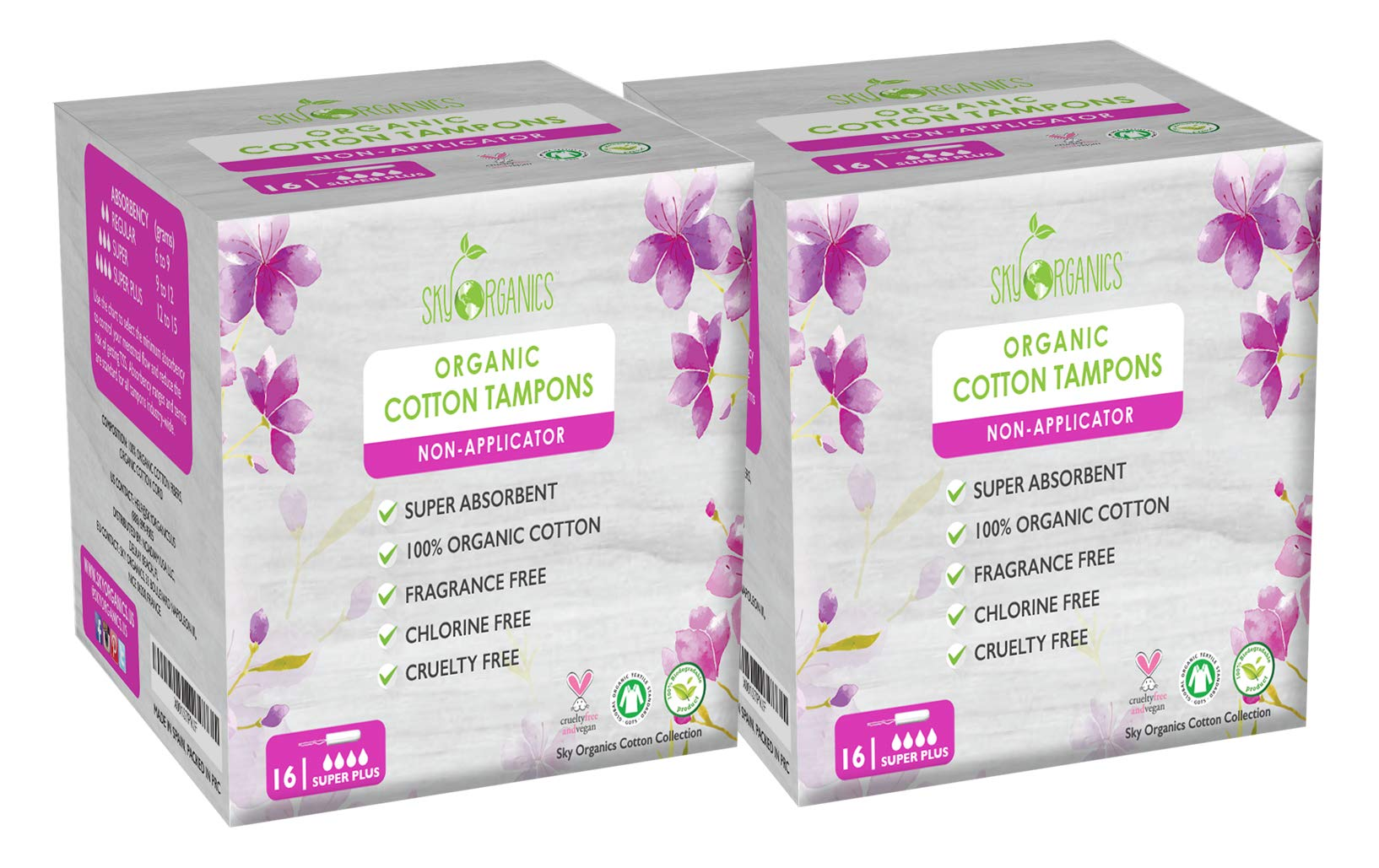 Organic Cotton Non-Applicator Tampons (Super Plus + Absorbency) by Sky Organics (2 Pack)- Chemical-Free, Vegan & Cruelty-Free, Biodegradable Plant Based Feminine Care, Natural Digital Tampons (32 ct)