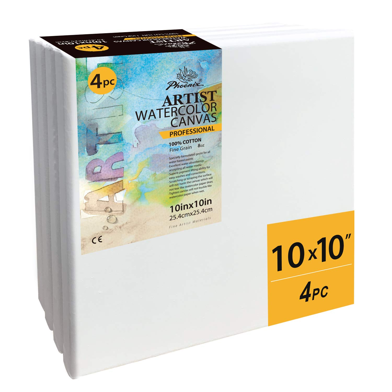 PHOENIX Stretched Watercolor Canvas - 10x10 Inch/4 Pack - 3/4 Inch Profile Professional Artist Painting Canvas for Water Soluble Paints