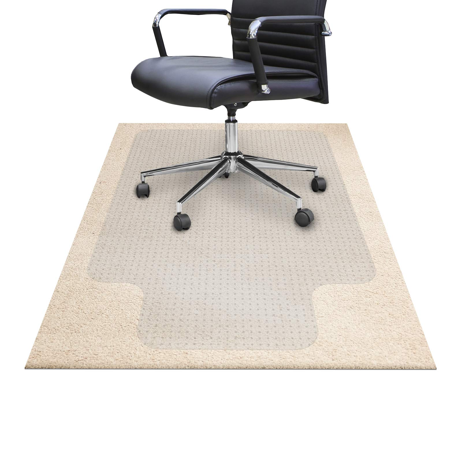 """Chair Mats for Carpeted Floors – Shatter-Proof Carpet Protector for Desk Chair   Eco-Friendly Low/Medium Pile Office Chair Mat for Carpet   Clear - 30"""" x 48"""" with Lip"""