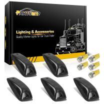 Partsam 5pcs Smoke Cab Maker 264159BK Roof Running Light Cover Base + 5X Amber T10 194 168 5050 LED Light Bulbs Compatible with / C1500 C2500 C3500 K1500 K2500 K3500 1988-2002 Pickup Trucks