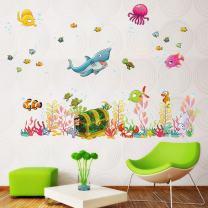 Holly LifePro Ocean Shark Fish Cartoon Wall Removable Stickers DIY Art Decor Children Mural Decals for Kids Rooms Baby Bedroom Wardrobe Door Decoration Style4