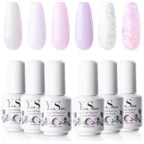 YaoShun Gel Nail Polish Set - Pink & Glitters Series 6 Colors Gel Polish Nail Art Gift Box, Soak Off Nail Gel UV Nail Gel Manicure Nail Art Kit 8ml # 01