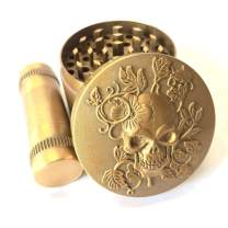 """KW Collection Zinc Alloy Spice Grinder Grater Gold 2""""/50mm 4 Piece with Free Pollen Presser and Pollen Catcher (2""""×1.6"""", 4 pieces, with a pollen presser, Antique Golden, Skull Head Designed on top)"""