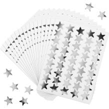 100 Sheets 4500 Counts Foil Star Stickers Reward Star Stickers Labels for Home, School, Bar, DIY and Office Decoration (Silver)