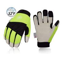 Vgo 32℉ or above 3M Thinsulate C40 Lined Winter Premium Pigskin Leather Waterproof Work Gloves (1Pair,Size L,Fluorescence Green,PA1016FW)