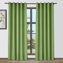 Drapifytex Grommet Curtain Living Room Curtains, Faux Cotton with Slate Blue Thermal Insulated Energy Efficiency 96 Inches Long Window Panel Drape