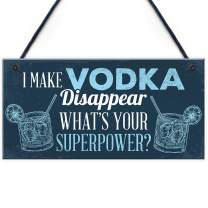 """Meijiafei Novelty Funny Make Vodka Disappear Alcohol Gift Man Cave Home Bar Hanging Wall Plaque Pub Sign Gift 10"""" X 5"""""""