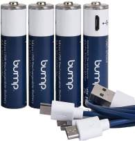 BUMP AAA USB Rechargeable | Reusable Quick-Charge by Micro USB Cable | Recharge up to 1000 Times | High Capacity | Eco Friendly | Polymer Lithium Battery - 4 Pack
