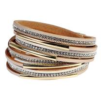 Leather Cuff Bracelet for Women - Boho Beads Wrap Clasp Bangle Bracelet Leather Wristbands Birthday Gifts for Women