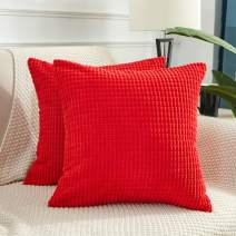 BeBen Throw Pillow Covers - Set of 2 Pillow Covers 16x16, Decorative Euro Pillow Covers Corn Striped, Soft Corduroy Cushion Case, Home Decor for Couch, Bed, Sofa, Bedroom, Car (Red, 16X16)