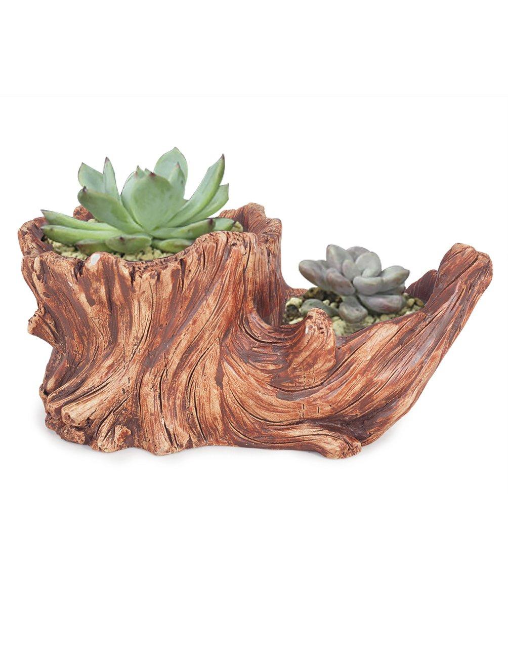Dahlia Driftwood Stump Log Concrete Planter/Succulent Pot/Plant Pot, 8.4L x 4.5W