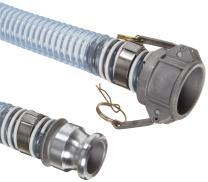 """Unisource 1760 clear PVC Food Grade Hose Assembly, 2"""" Aluminum Cam And Groove Connection, 29.8"""" Hg Vacuum Rating 40 PSI Maximum Pressure, 25' Length, 2"""" ID"""