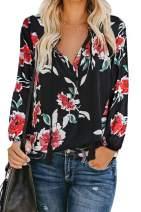 Shawhuwa Women's Floral Print V Neck Shirts Long Sleeve Boho Tops Casual Loose Blouses