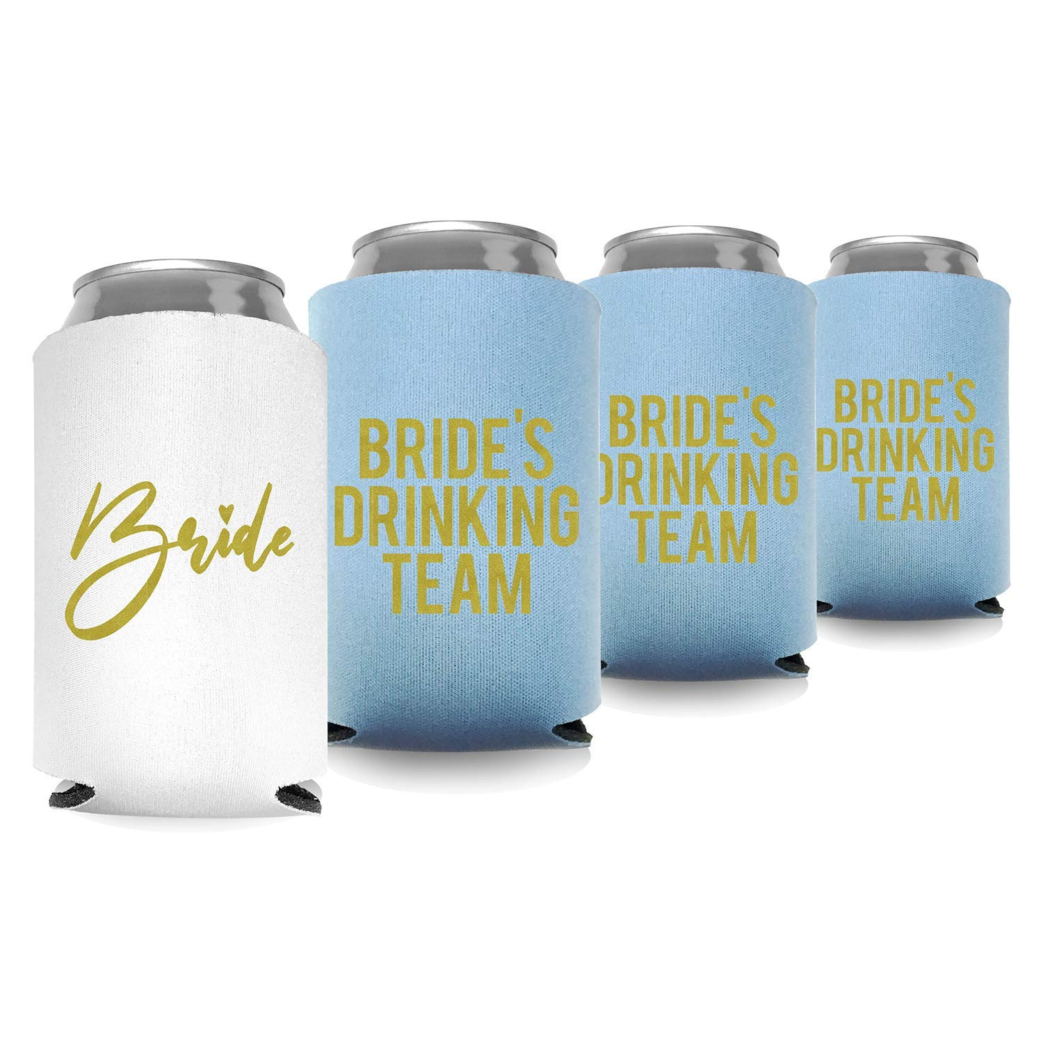 Coolies Can Coolers Insulated Collapsible Beer Soft Drinks Bottle Soda Can Sleeves (Bride & Bride Drinking Team) Durable Insulators Premium Quality for Bachelorette Party (Set of 24) White and Blue