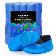 Squish Shoe Covers Disposable, 100 Pack (50 pairs) One Size Fits All, Resistant, Anti-Slip, Waterproof Shoe & Boot Covers for Construction, Offices, Indoor Floor Carpet Protection (Blue)