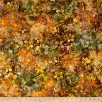 Textile Creations Indonesian Batik Dogwood Fabric by The Yard, Gold