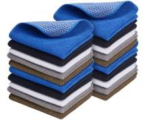 SINLAND Microfiber Dish Cloth Best Kitchen Cloths Cleaning Cloths Poly Scour Side Color Assorted 12inchx12inch (Bluex4+whitex4+greyx4+brownx4+blackx4)