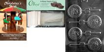 "Cybrtrayd ""Navy Pop"" Jobs Chocolate Mold with Chocolatier's Lollipop Supply Bundle, Includes 25 Lollipop Sticks, 25 Cello Bags, 25 Silver Twist Ties and Chocolatier's Guide"