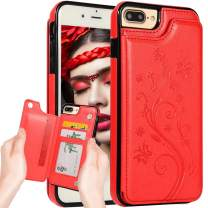 iPhone 8 Plus Wallet Case,iPhone 7 Plus Case Wallet for Women,Auker Slim Fit Butterfly Embossed Folio Flip Leather Folding Stand Magnetic Back Wallet Purse Case with Card Holder/Money Pocket (Red)