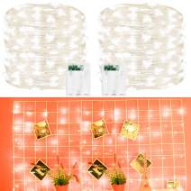 2 Pack Led String Lights, Battery Operated Fairy String Lights Led Mini String Light 50 LED 16.5ft Battery Powered Silver Wire Fairy Starry Lights for Bedroom Christmas Party Wedding Indoor Decor