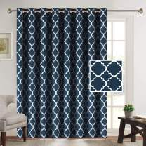"""Flamingo P Beautiful Quatrefoil Pattern Energy Efficient Printed Curtains Thermal Insulated Panels Extra Long and Wide Grommet Curtain Large Size 100"""" W by 84"""" L for Patio (Navy - 100"""" x 84"""")"""