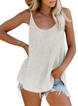 Acelitt Women Ladies Casual Summer Scoop Neck Tank Tops Flowy Blouses