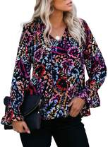 Astylish Women's Boho Print Long Sleeve V Neck Flowy Shirts Casual Tops Loose Blouse