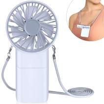 Portable Neck Fan Mini Handheld - Anpro Small Personal Hand held Fan USB Rechargeable Battery Operated for Women/Girls, Hands Free Necklace Fans for Travel/Office, White
