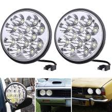 H5001 LED Headlight Par46 Round Headlamps 5.75'' 5-3/4 Led Pods Sealed Beam Projector Offroad Work Light 36W Fit for Unity Spotlight Truck Projector Chrome Offroad. (2)
