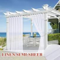 StangH Outdoor Sheer Curtains Panels - Outdoor Decor Voile Sheer Drapes Water Repellent Privacy Screen Drapery with 1 Rope Tie Back, W54 x L96 inch, 1 Panel, White