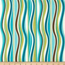Tempo Fabric Terrasol Indoor/Outdoor Wave Fabric by The Yard, Peacock