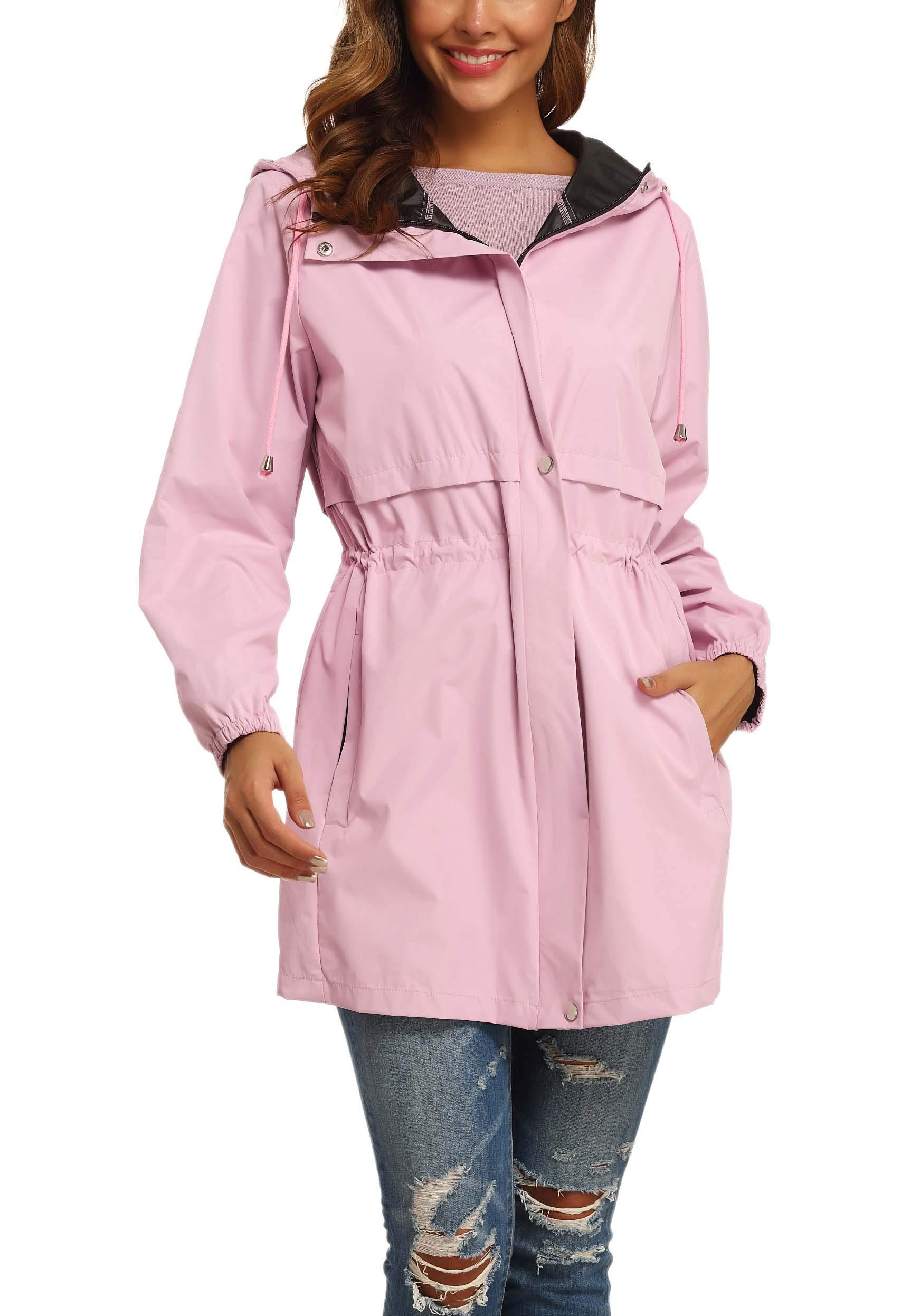 GUANYY Rain Jacket Women Waterproof Hooded Raincoat Active Outdoor Windbreaker Trench Coat