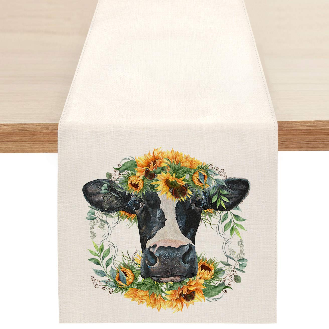 Sunflower Cow Farmhouse Table Runner, Spring Summer Floral Table Runners for Kitchen Dining Coffee or Indoor and Outdoor Home Parties Decor 13 x 72 Inches
