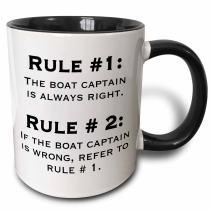 "3dRose 159650_4""Boat Captain Rules Mug, 11 oz, Black"