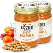 Big Spoon Roasters Hot Peanut Butter w/ Chiles & Sea Salt - Chile Peanut Butter - Hot, Sweet, Creamy Peanut Butter w/ Organic Peanuts - Keto, Palm Free, Vegan Habanero Peanut Butter - 26 Ounces